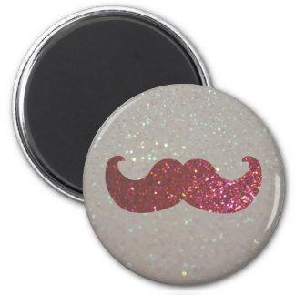 Pink Bling Mustache (Faux Glitter Graphic) Fridge Magnets