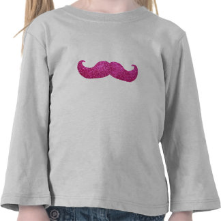 Pink Bling Mustache (Faux Glitter Graphic) Tshirt