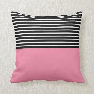 Pink Block Black White Stripes Cushion