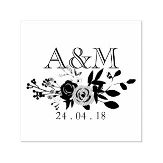 Pink Bloom Wedding Monogram Self-inking Stamp