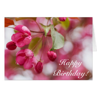 Pink blooming happy birthday card