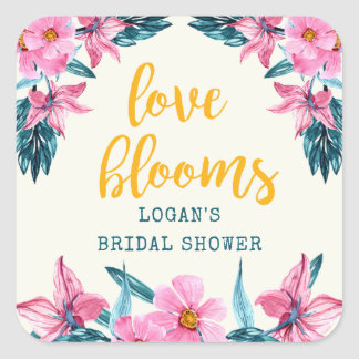 Pink Blooms Bridal Shower Sticker