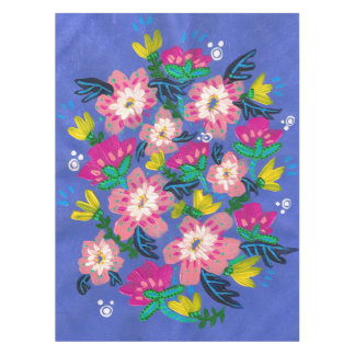 Pink Blooms Cotton Tablecloth