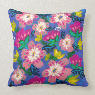 Pink Blooms Cotton Throw Pillow