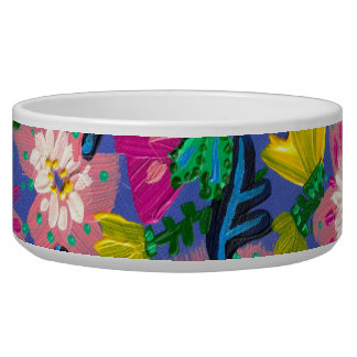 Pink Blooms Large Pet Bowl