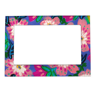 """Pink Blooms Magnetic Picture Frame- 5x7"""" Magnetic Picture Frame"""