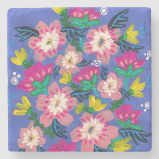 Pink Blooms Marble Stone Coaster