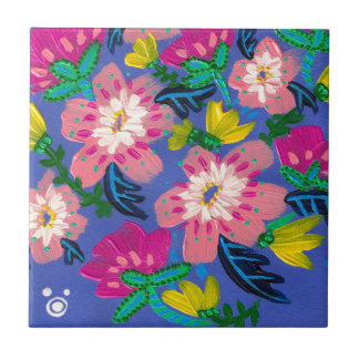 Pink Blooms Small Ceramic Tile