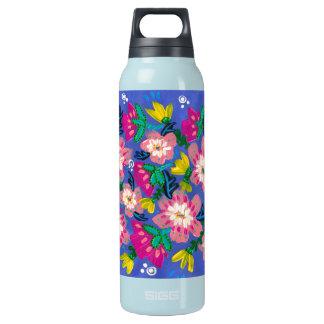 Pink Blooms Teal Bottle