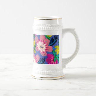 Pink Blooms White Gold Stein Mug