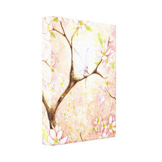Pink Blossom View Canvas Stretched Canvas Print