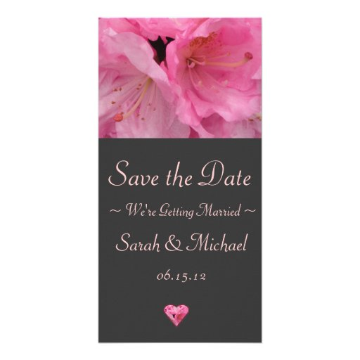 Pink Blossom Wedding Announcement Card Personalized Photo Card
