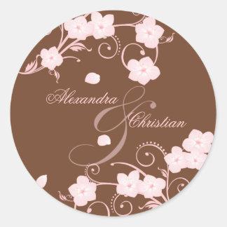 Pink Blossom Wedding Save The Date Announcement Round Sticker