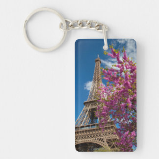Pink Blossoming Tree Below The Eiffel Tower Double-Sided Rectangular Acrylic Key Ring