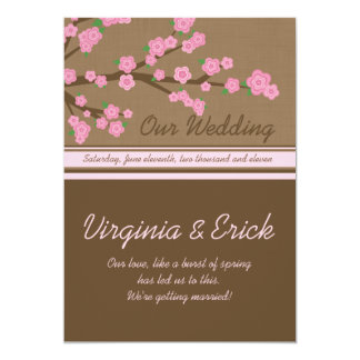 Pink Blossoms Customized Wedding Invitation