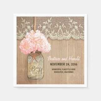 pink blossoms mason jar rustic paper napkins disposable napkin