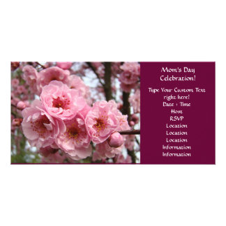 Pink Blossoms Mother's Day Celebration Party Customised Photo Card