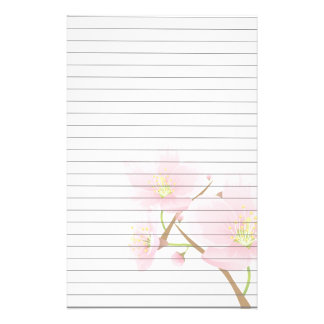 Pink Blossoms on Branch Stationery