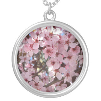 Pink Blossoms on Spring Flowering Tree Round Pendant Necklace