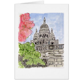 Pink Blossoms Sacre Coeur Paris Card