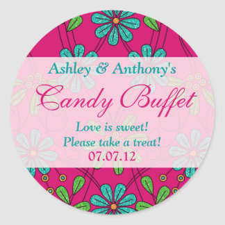 Pink Blue Abstract Daisy Floral Candy Buffet Round Sticker