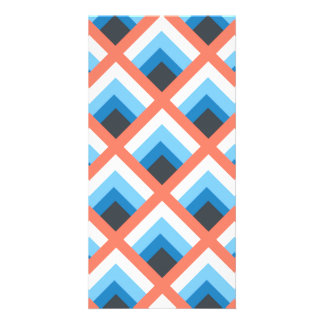 Pink Blue Abstract Geometric Designs Color Customized Photo Card