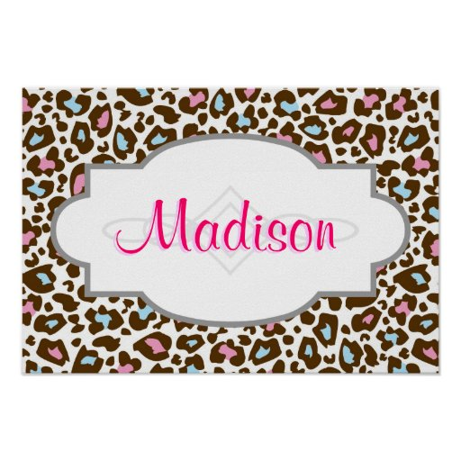 Pink, Blue, and Brown Leopard Spotted Animal Print