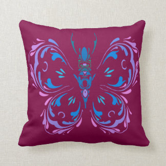 Pink Blue and Mauve Butterfly Cranberry Design Cushion