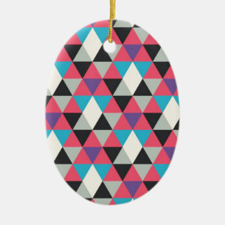 Pink Blue and White Triangle Pattern Ceramic Oval Decoration
