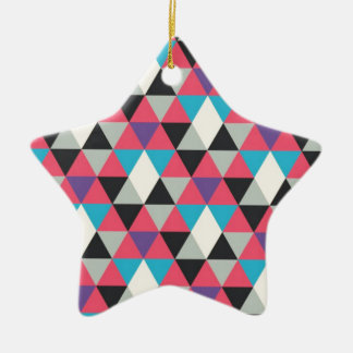 Pink Blue and White Triangle Pattern Ceramic Star Decoration