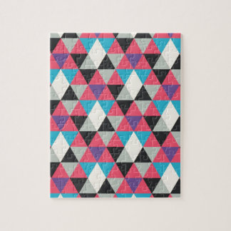 Pink Blue and White Triangle Pattern Jigsaw Puzzle