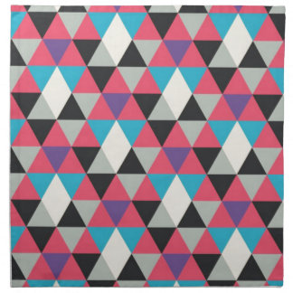 Pink Blue and White Triangle Pattern Napkin