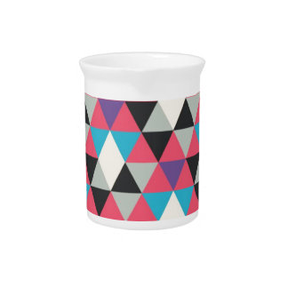 Pink Blue and White Triangle Pattern Pitcher