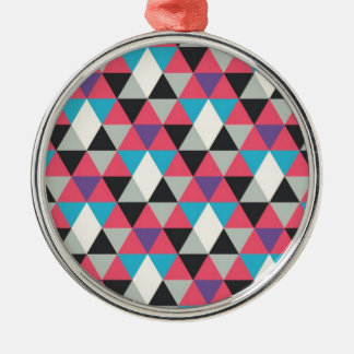 Pink Blue and White Triangle Pattern Silver-Colored Round Decoration