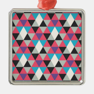 Pink Blue and White Triangle Pattern Silver-Colored Square Decoration