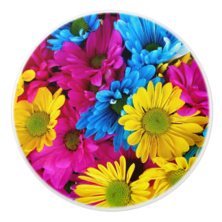 Pink, Blue and Yellow Daisies Knob