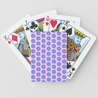 Pink, Blue and Yellow Flower Pattern. Poker Deck
