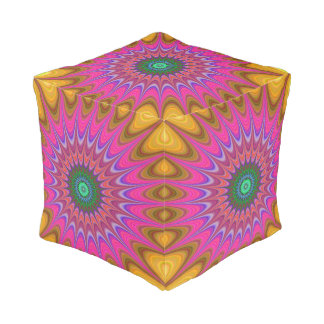 Pink, Blue And Yellow Mandala Pouf