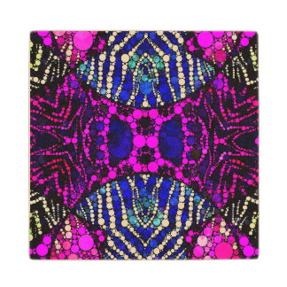 Pink Blue Animal Print Bling Wood Coaster