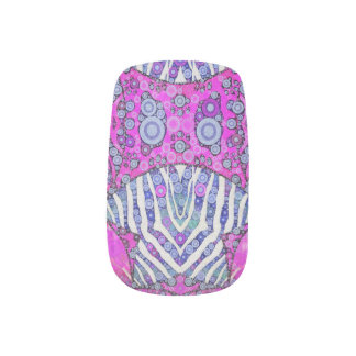 Pink Blue Animal Print Nails Stickers