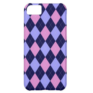 Pink, blue argyle pattern case for iPhone 5C