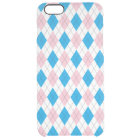 Pink blue argyle pattern clear iPhone 6 plus case
