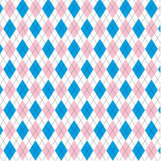 Pink blue argyle pattern standing photo sculpture