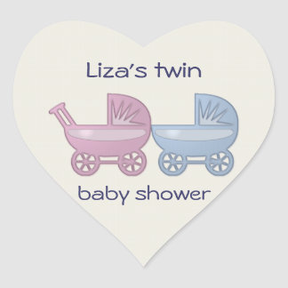 pink & blue baby buggy heart sticker