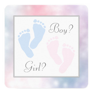 Pink Blue Baby Feet Footprint Gender Reveal 13 Cm X 13 Cm Square Invitation Card