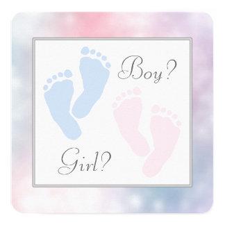 Pink Blue Baby Feet Footprint Gender Reveal 13 Cm X 13 Cm Square Invitation Card