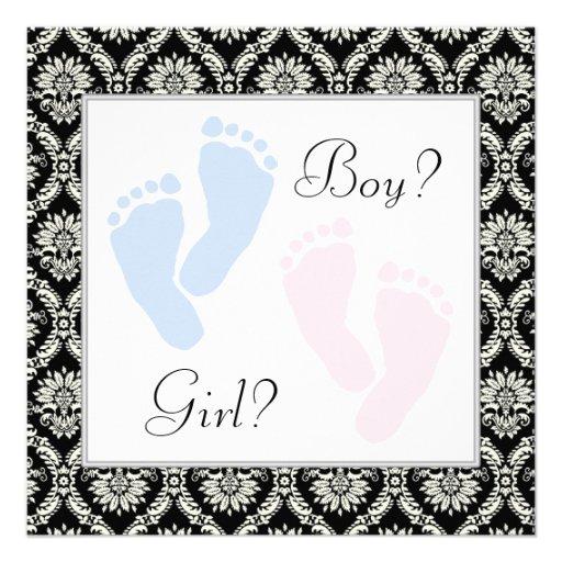 Pink Blue Baby Feet Gender Reveal Custom Invites