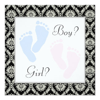 Pink Blue Baby Feet Gender Reveal 13 Cm X 13 Cm Square Invitation Card