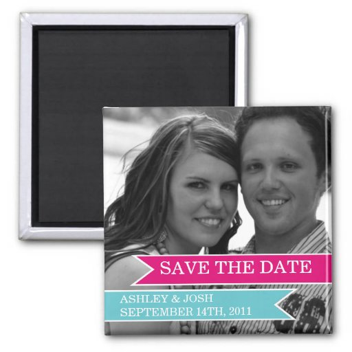 Pink & Blue Banner Photo Save The Date Magnet