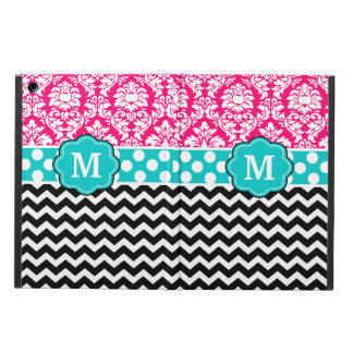 Pink Blue Black Damask Dots Chevron Monogram Case For iPad Air